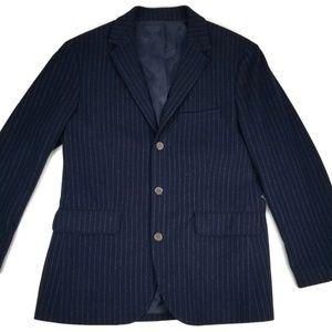 J. Crew Wool Flannel Blazer Sport Coat Navy Large